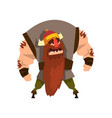 viking warrior character in helmet with horns vector image vector image