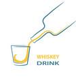 whiskey glass bottle shot splash menu stock vector image vector image