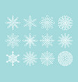 white snowflakes set isolated on blue background vector image
