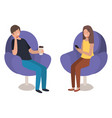 young couple using smartphone in sofa vector image vector image