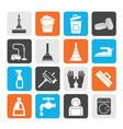 Silhouette Cleaning and hygiene icons vector image