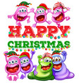Christmas theme with aliens at party vector image