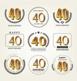 40 years anniversary logo set vector image vector image