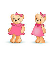 adorable toy bear in pink dress with bow in head vector image