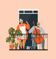 an elderly couple is gardening on balcony vector image
