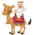 Arab boy riding camel vector image vector image