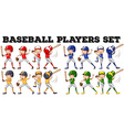 Baseball players in different positions vector image