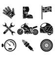 black silhouette bike race sport championship vector image