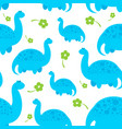 blue cartoon dinosaur pattern vector image vector image
