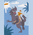 brave boy riding angry dinosaur with fun vector image