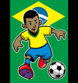brazil soccer player with brazil flag background vector image vector image