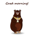 cartoon bear in slippers and necktie holding cup vector image vector image