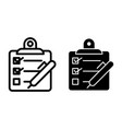 checklist with pen line and glyph icon vector image vector image
