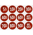 collection of red discount stickers set vector image vector image