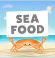 crab with seafood banner on sea sand beach vector image vector image