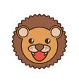 cute lion face kawaii style vector image vector image