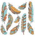 decorative set of feathers in ethnic style vector image vector image