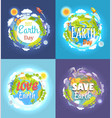 earth day 2017 advertising posters collection vector image vector image