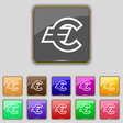 Euro EUR icon sign Set with eleven colored buttons vector image vector image