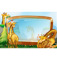 Frame design with giraffe in garden vector image vector image