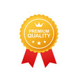 gold premium quality rosette with red ribbon on vector image vector image