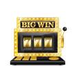 golden slot machine wins the jackpot lucky seven vector image vector image