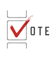 Grunge red checkmarks in checkbox Vote concept vector image vector image