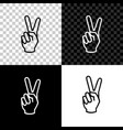 hand showing two finger icon isolated on black vector image