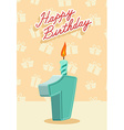 Happy birthday card with 1th birthday vector image vector image