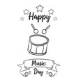 happy music day hand draw card style vector image vector image