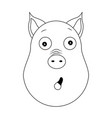 head amazed pig in outline style kawaii animal vector image
