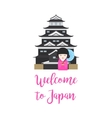 Japan castel and kokeshi doll vector image