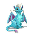 Little cute cartoon blue dragon isolated on white