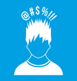 man with different signs over his head icon white vector image