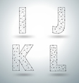 Mesh stylish alphabet letters numbers vector image vector image
