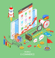 mobile advertising flat isometric concept vector image vector image