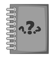 Notebook with question icon gray monochrome style vector image vector image