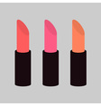 Pink nude lipstick set on gray background Isolated vector image vector image
