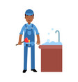 proffesional plumber character cleaning drain in vector image vector image