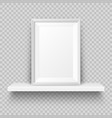 realistic wall shelf with empty picture frame vector image