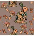 seamless pattern with mushroom and bunny vector image vector image
