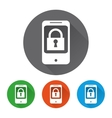 Security icons set with phone vector image vector image