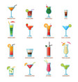 set different alcohol drink cocktails vector image vector image