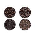 set of african circular ornaments tribal print vector image