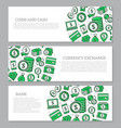 set of three digital money and bank horizontal vector image vector image