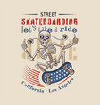skateboarder skeleton character vector image