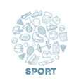 sports equipment background sketch medal vector image vector image