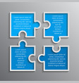 the puzzle infographics jigsaw four steps puzzle vector image vector image