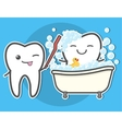 Tooth brushing toth in the bath vector image vector image