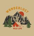 wanderlust vintage mountain landscape vector image